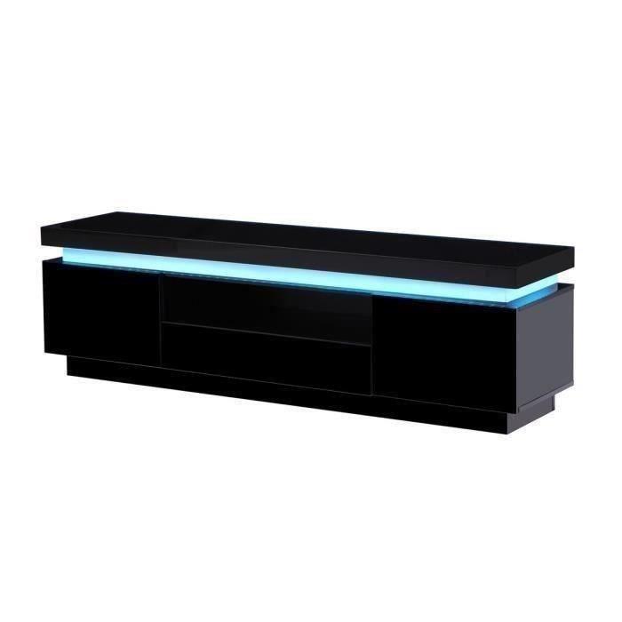 MEUBLE TV FLASH Meuble TV avec LED contemporain noir laqué b