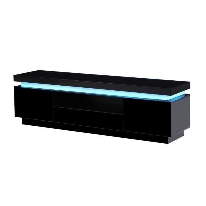 flash meuble tv contemporain en bois avec leds multicolores laqu noir l 165 cm achat. Black Bedroom Furniture Sets. Home Design Ideas
