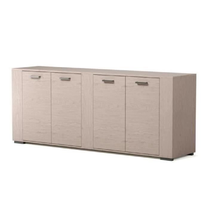 Loft buffet bas industriel d cor bois gris l 220 cm for Buffet de salon pas cher