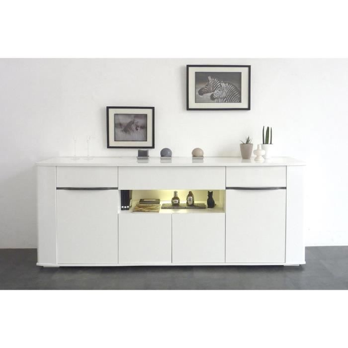 white buffet 200cm blanc brillant achat vente buffet bahut white buffet bas l201 cm. Black Bedroom Furniture Sets. Home Design Ideas