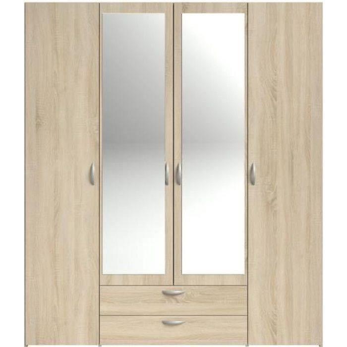 ARMOIRE DE CHAMBRE VARIA Armoire 4 portes miroir décor chêne - L 160