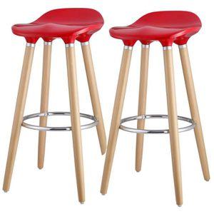 TABOURET DE BAR OSLO Lot de 2 tabourets de bar rouge laqué + pieds