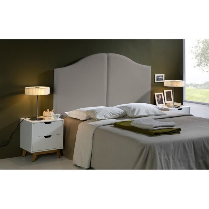 wave t te de lit 160 cm en simili taupe achat vente. Black Bedroom Furniture Sets. Home Design Ideas