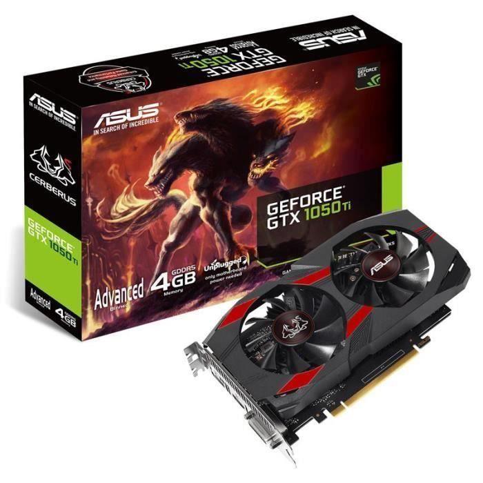 CARTE GRAPHIQUE INTERNE ASUS GeForce GTX 1050 Ti 4 Go Cerberus (CERBERUS-G