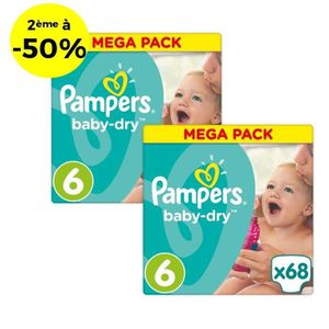 COUCHE PAMPERS Baby Dry Taille 6 - 15+kg - 136 couches -