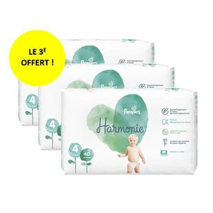 COUCHE PAMPERS HARMONIE T4 Lot de 3 paquets - 120 couches