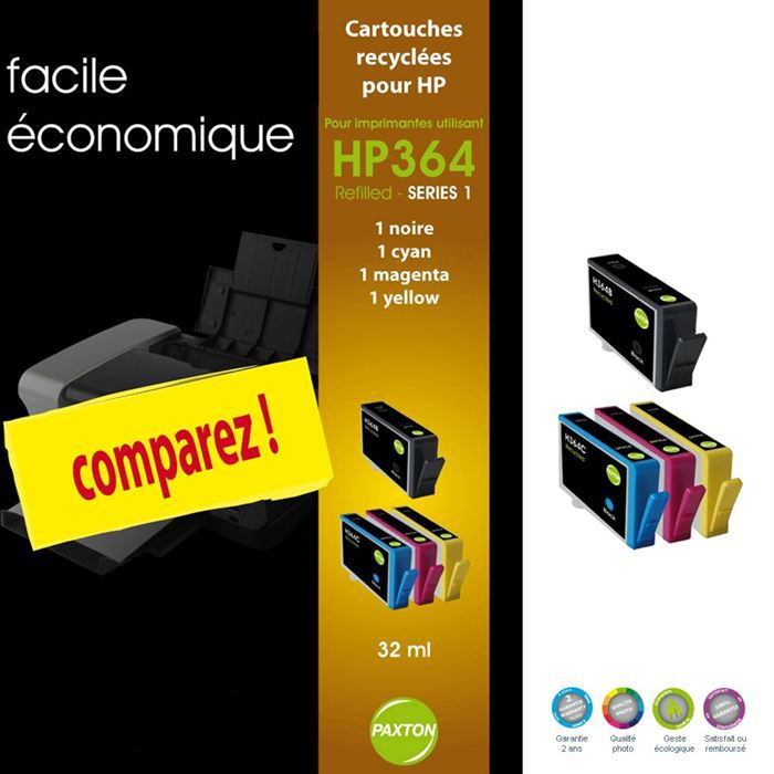 paxton pack 4 cartouches i refill hp 364 dosette achat. Black Bedroom Furniture Sets. Home Design Ideas