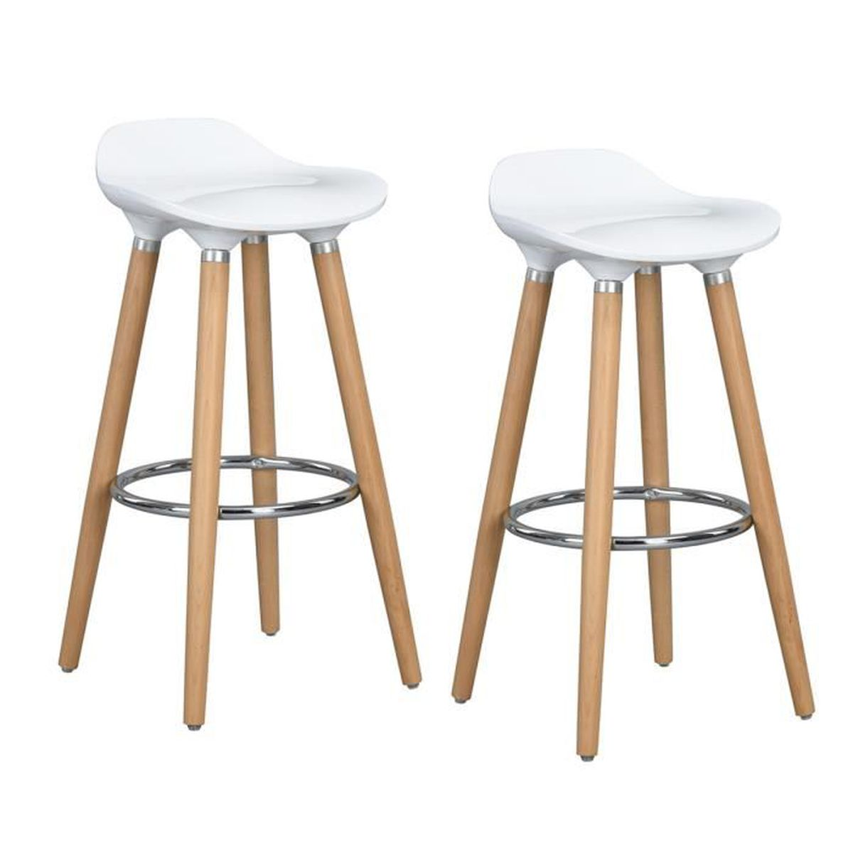 Furniturer Lot De 2 Tabourets De Bar Bistrot Chaises De