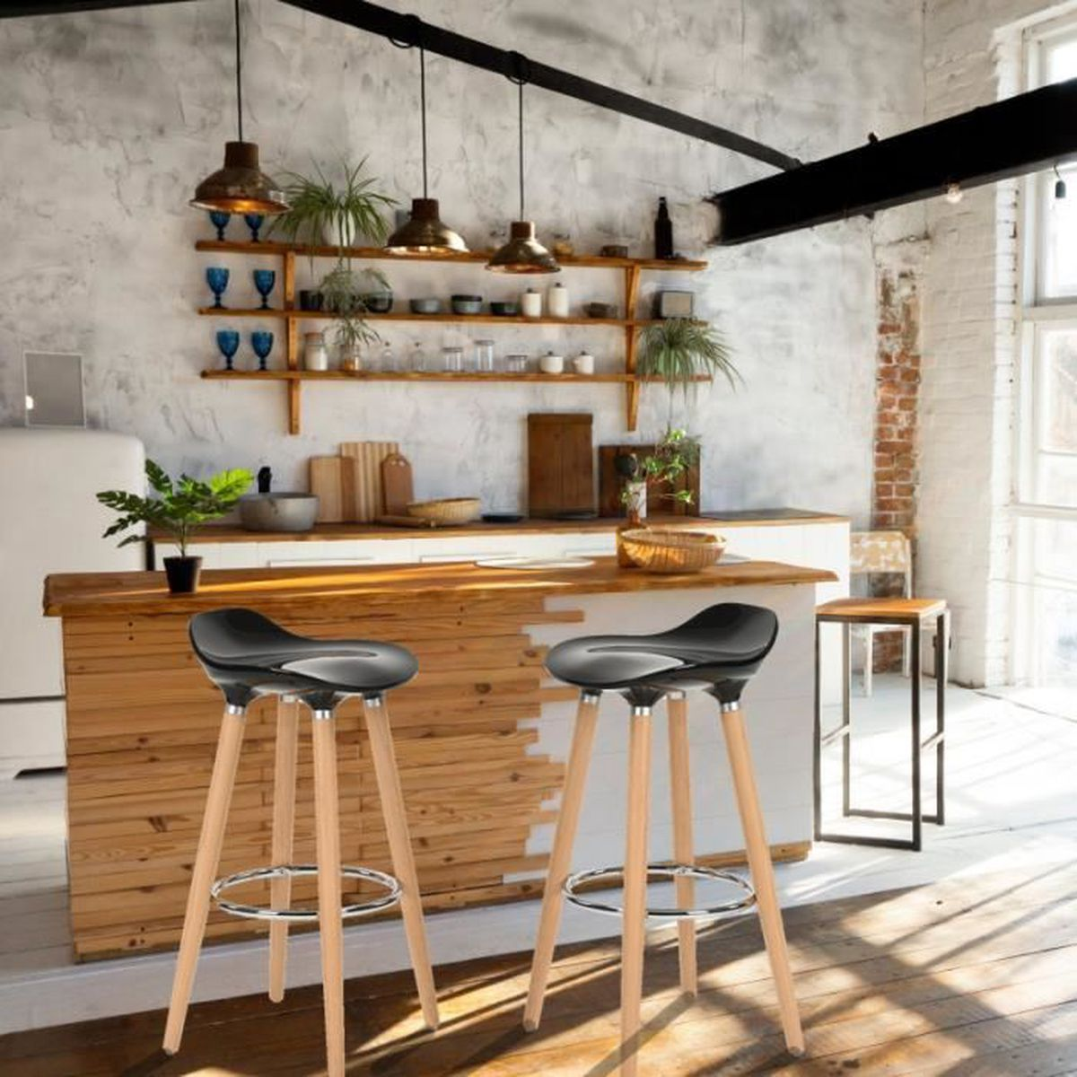 furniturer lot de 2 tabourets de bar cuisine scandinaves chaises de bar haute avec repose pieds. Black Bedroom Furniture Sets. Home Design Ideas