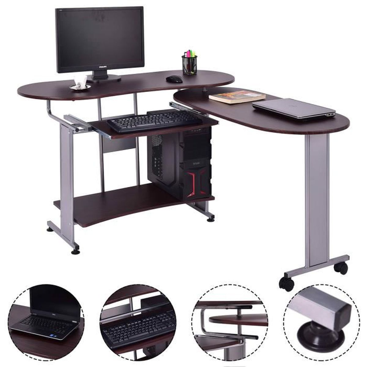 Bureau informatique table d 39 ordinateur pc table de travail for Table pour pc de bureau