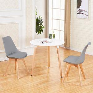 TABLE DE CUISINE  JKK Table à Manger Ronde de 2 à 4 personnes Blanc