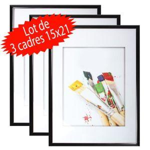 CADRE PHOTO Lot de 3 cadres photo 15x21 cm (Noir)