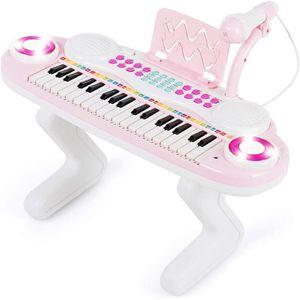 49 clés électronique Numérique Clavier E-Piano enfant débutant 16 sons et micro Rose