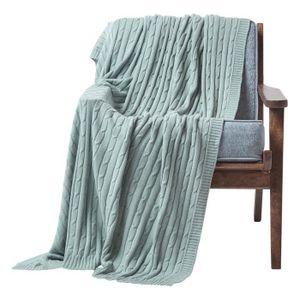 JETÉE DE LIT - BOUTIS Jeté de lit ou de canapé 100% coton torsadé Bleu 1