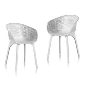 FAUTEUIL JARDIN  IDEA Lot de Chaises de jardin Nora Blanc