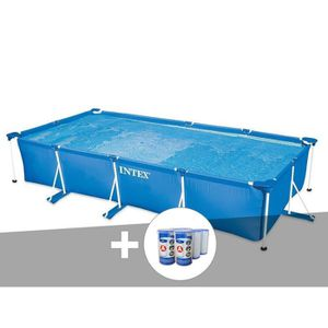 PISCINE Kit piscine tubulaire rectangulaire 4,50 x 2,20 x
