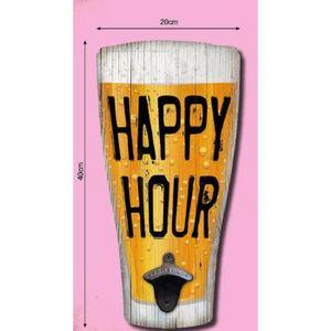 Les Tr/ésors De Lily - 30x8.5 cm Happy Hours Q2845 - Plaque fl/èche Bois Messages Rouge Jaune