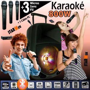 PACK SONO KARAOKE 3 MICROS SANS FIL + ENCEINTE SONO 800W USB