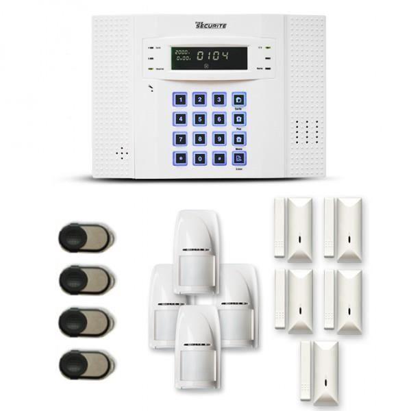 Alarme maison sans fil DNB 4 à 5 pièces mouvement + intrusion - Compatible Box internet