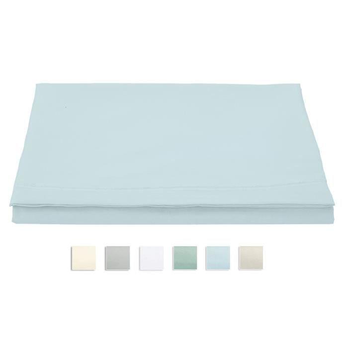 PIZUNA Drap Plat 400 Fils / Pouce Satin De 100% Coton De Fibres Longues 240 x 280 Pour 2 Personnes - Bleu Clair