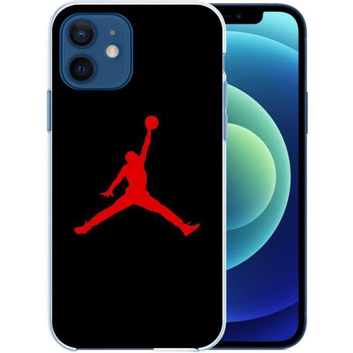 Coque pour iPhone 12 - Jordan Basketball Logo Noir. Accessoire telephone