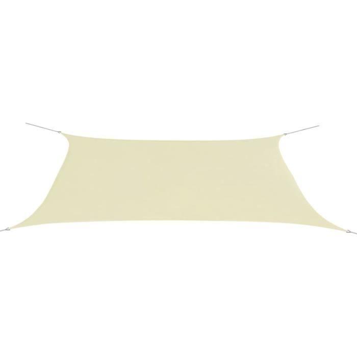 Parasol en tissu Oxford rectangulaire crème 4x6 m ♪ZY
