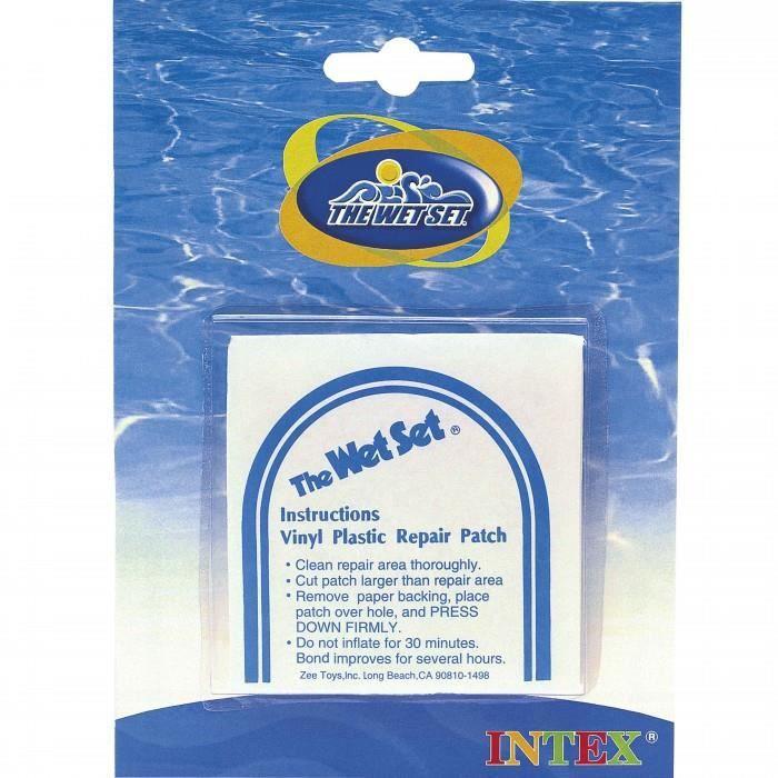 Necessaire de reparation Intex pour piscine. Rustine WET SET pour reparation matelas et liner piscine hors-sol. Ideal