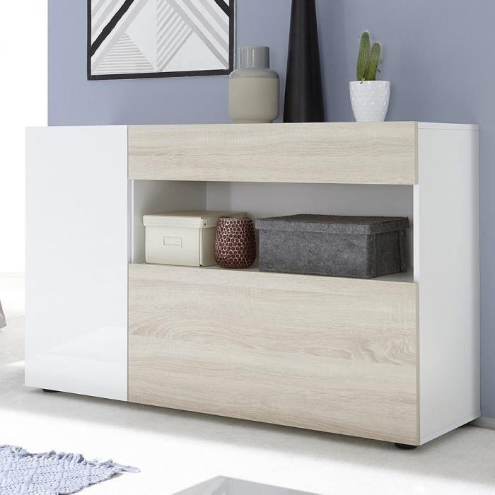 Petit meuble entrée blanc laqué et couleur chêne clair PICERNO Blanc L 130 x P 41 x P 82 cm