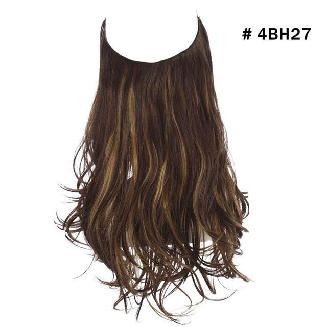 12 -Wave Halo Hair Extensions No Clip In Ombre Blonde Black Pink Synthetic Natural Hidden Secret #4BH27 Fake Hair Piece