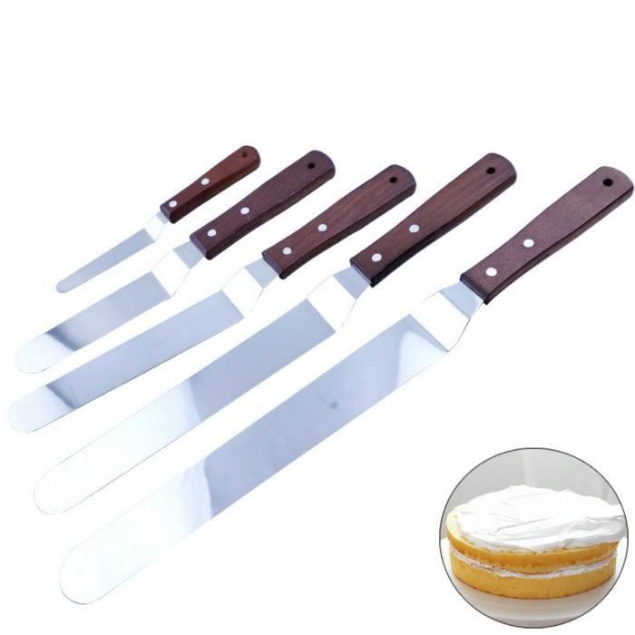 Spatules Coudées À Patisserie En Acier Inoxydable Spatule Gateaux Palette Pelle Cuisine Avec Manche En Bois 5 Pièces