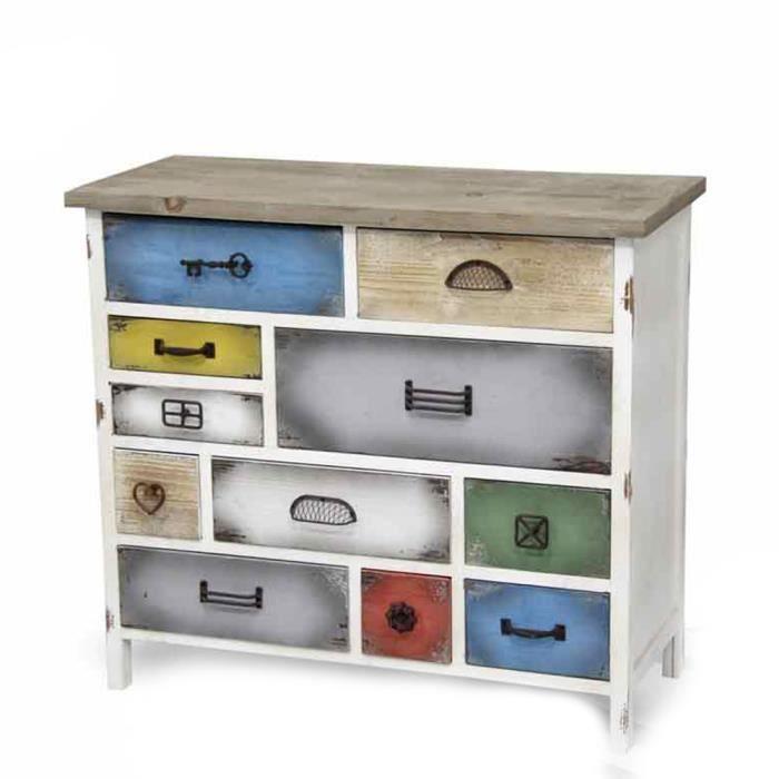 Commode meuble tiroirs multicolores en bois vintage ameublement design 17XJK015