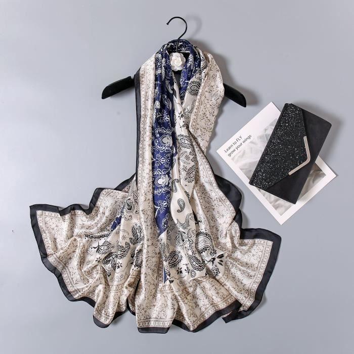 foulard plage,Van Gogh – Foulard en soie pour Femme, écharpe de marque de luxe, imprimé Floral abricot, Hijab, - Type XC78-L180cm