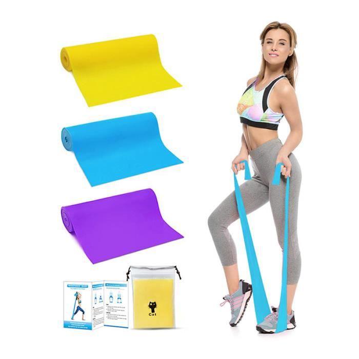 Lot de 3 Bande Élastique Fitness Pilates Yoga - 3 Niveaux De Force - Bande De Résistance d'Exercices Pour Rééducation Physique