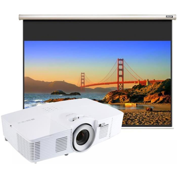 Pack ACER V7500 Vidéoprojecteur DLP 3D Full HD 1080p Lens Shift + Ecran de projection 90