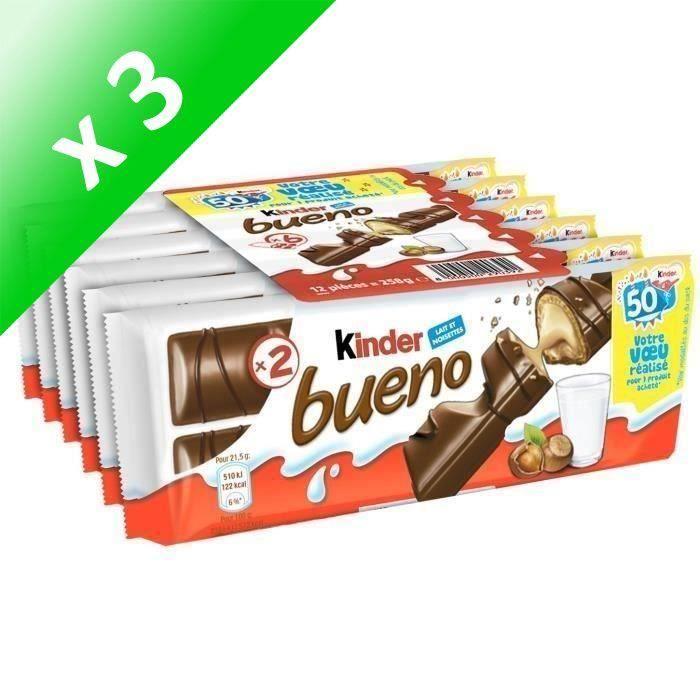 [LOT DE 3] KINDER BUENO Pack de Gaufrettes chocolatées fines - 258 g