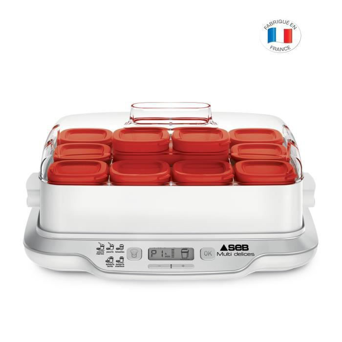SEB YG661500 Yaourtière Multidélices Express - 5 modes - 12 pots + 6 pots de yaourt