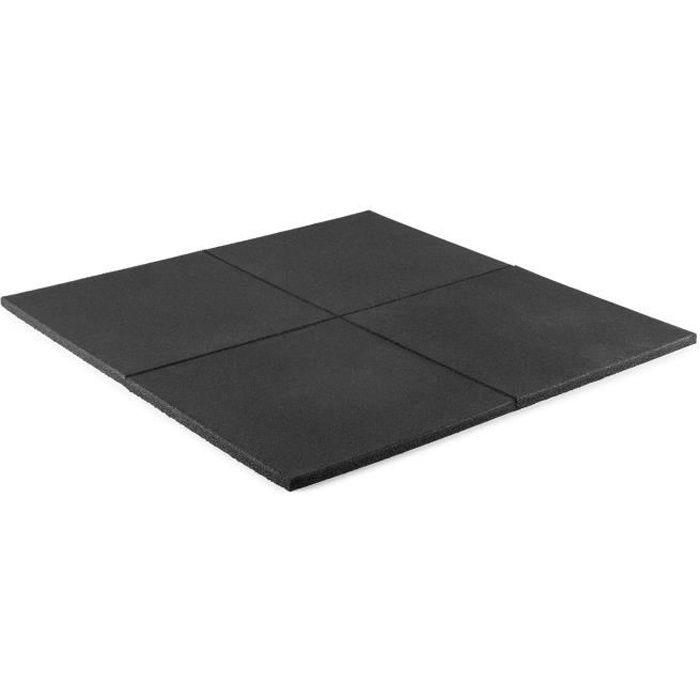 CAPITAL SPORTS RUB20 Set 4 tapis de sol pour yoga , gymnastique , pilates - Surface anti-dérapante 50 x 50cm - Epaisseur 2 cm - Noir