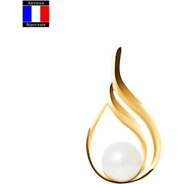 Compagnie Générale des Perles - Pendentif Stylisée - Véritable Perle de Culture Poire 7-8 mm - Or Jaune 18 Carats - Bijou Femme