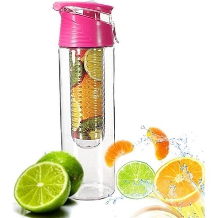 1Pcs 800ML Fruit Infusant Bouteille d'eau avec infuseur de Fruits et Flip Lid Jus de Citron Faire sans