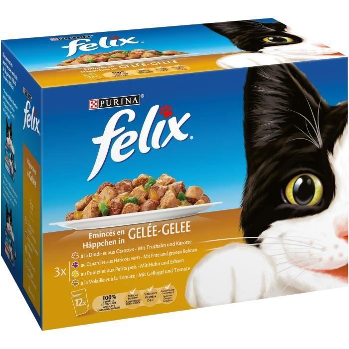 FELIX Emincés en gelée - Volaille-légumes - Sachets fraîcheur pour chat adulte - 12 x 100 g