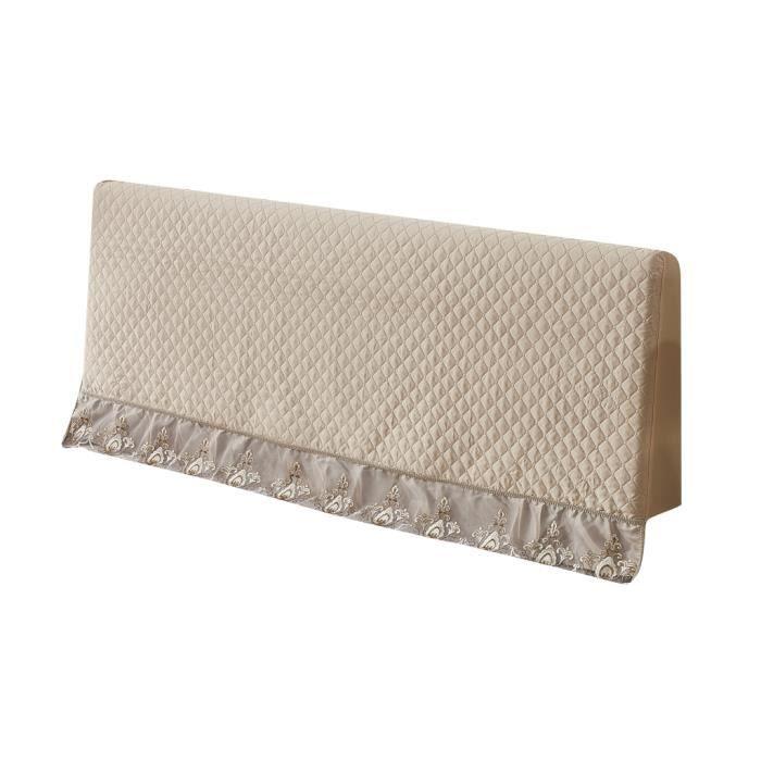Tête de Lit Housse de Protection avec Broderie en Dentelle en Polyester Doux pour Têtes de Lit Plates en Bois 180cm Champagne