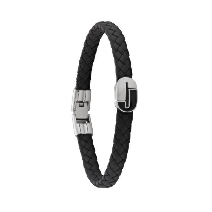 Jourdan Bijoux - Bracelet homme - BA005H - Cuir noir - Logo J