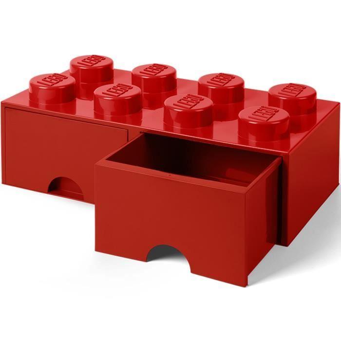 LEGO 40061730 Boîte bac Brique de rangement empilable Légo 8 plots 2 tiroirs Plastique Rouge H18 x 25 x 50 cm