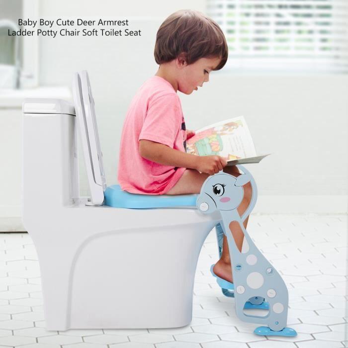 HES-✦Enfant Siège Toilette Echelle Marche WC Réducteur Confortable Anti-dérapant Escabeau Siège Toilette Réglable ✦