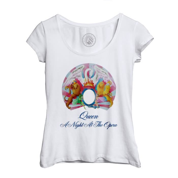 T-shirt Femme Col Echancré Queen Freddy Mercury A Night at the Opera Rock 80's