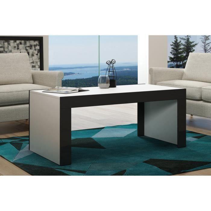 Table basse en MDF Blanche mat et bordure noir laquée 120 cm