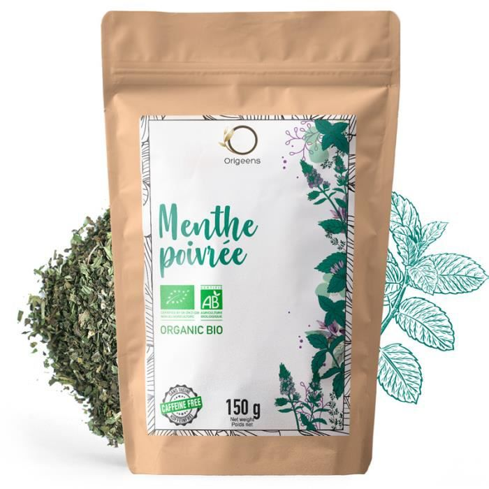 Feuilles de Menthe Poivrée BIO 150g - Menthe séchée pour thé à la menthe, thé glacé et la Cuisine