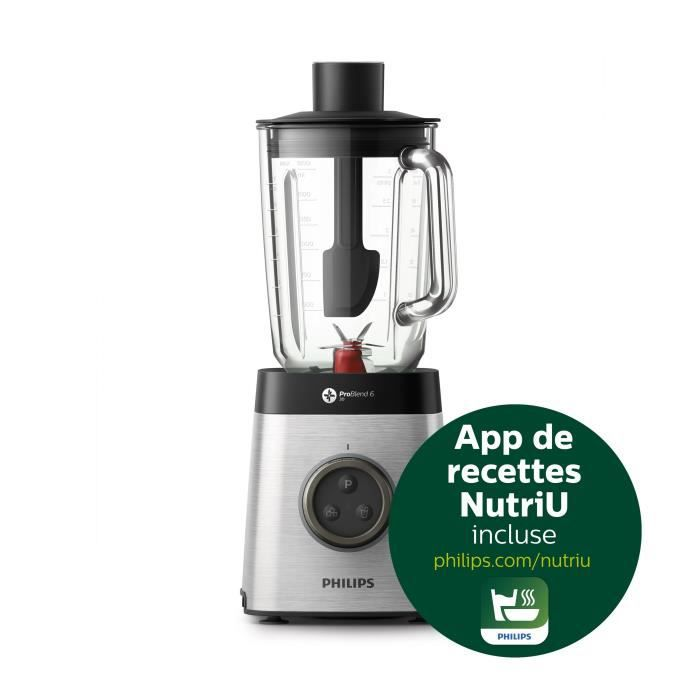 PHILIPS HR3655/00 Blender Avance Collection - Bol en Verre 2,2L - 2 gourdes - 1400 W - Inox