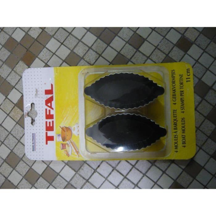 4 moules à barquette ovales 11cm TEFAL