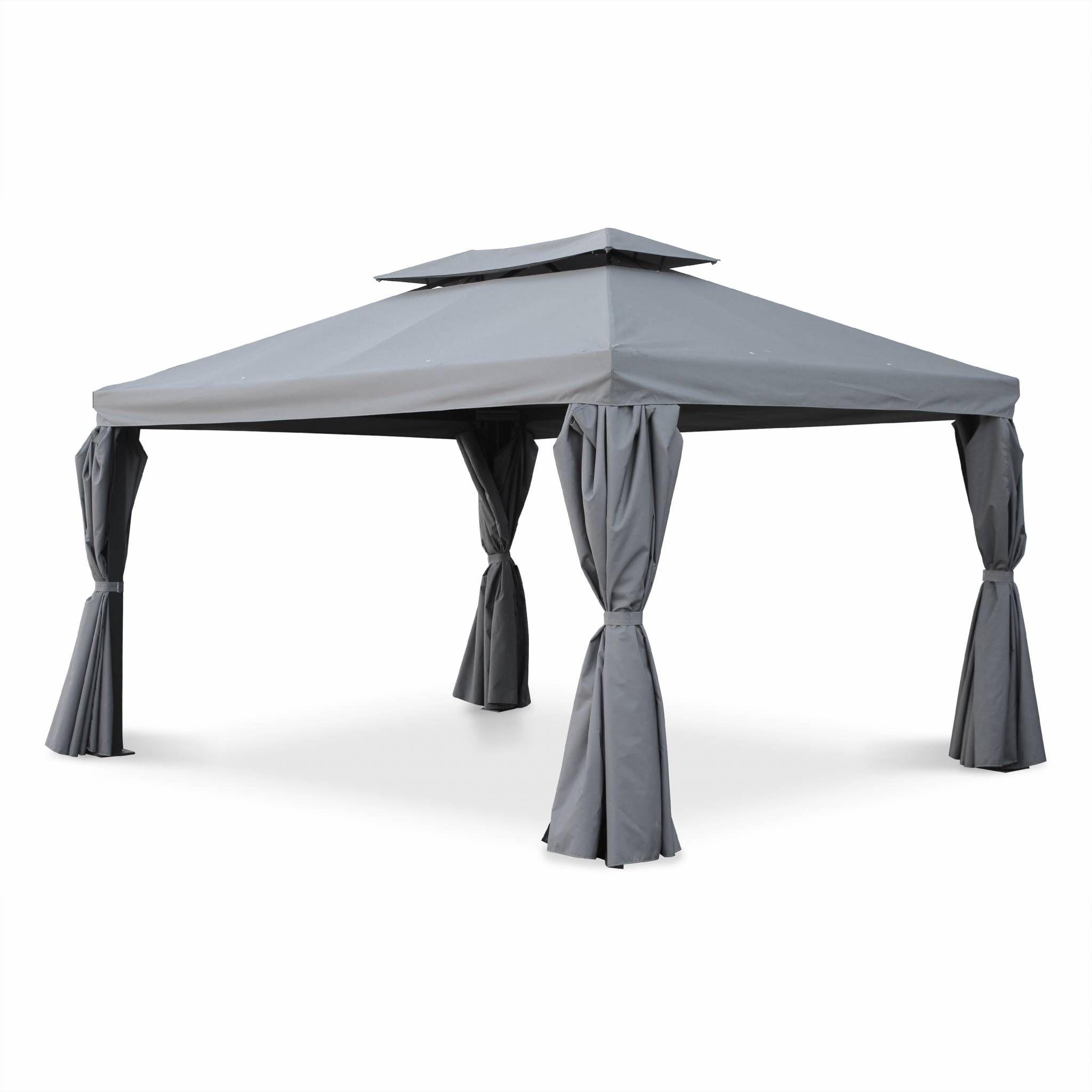 Tente De Jardin Pergola Aluminium 3x4m Divodorum Gris Avec